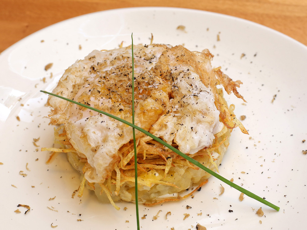 Huevo de oca en dos texturas - La Cafetería